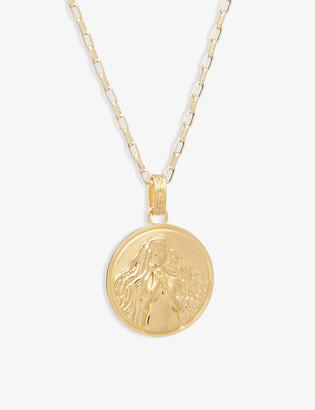 Rachel Jackson Zodiac Art Coin Virgo long 22ct gold-plated sterling silver necklace