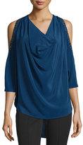 Haute Hippie Cold-Shoulder Embellished Silk Blouse, Blue