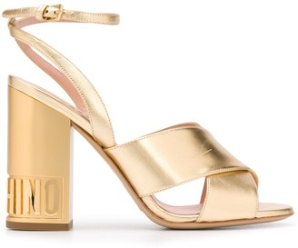 Moschino Embossed-Logo Block-Heel Sandals