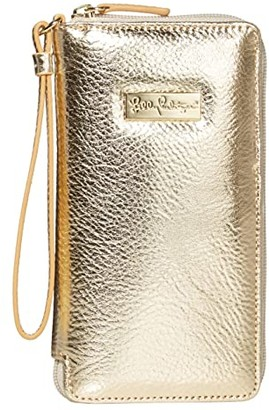 Lilly Pulitzer Tiki Palm Wristlet (Gold Metallic) Handbags