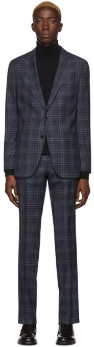 BOSS Navy Checkered Novan6 and Ben2 Suit