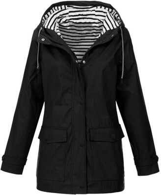 Buyao Plus Size Windbreaker Women Lightweight Coats Jackets with Hood Waterproof Parka Windbreaker Raincoat Coat