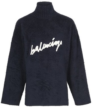 Balenciaga Brushed cotton scribble knit
