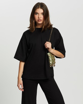 Missguided Women's Black Cropped Pants - Co-Ord Ribbed T-Shirt & Culottes Set - Size 12 at The Iconic