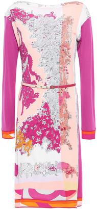 Emilio Pucci Belted Floral-print Jersey Mini Dress