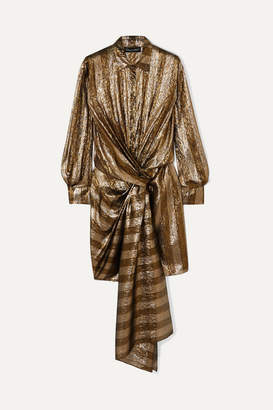 Oscar de la Renta Twist-front Striped Silk-blend Lame Mini Dress - Gold