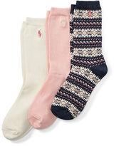 Ralph Lauren 2-6X Fair Isle Trouser Sock 3-Pack