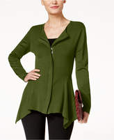 Alfani Zip-Front Handkerchief-Hem Cardigan, Created for Macy's