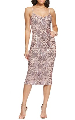 Dress the Population Alexa Sequined Midi Dress
