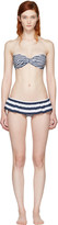 Dolce & Gabbana Blue and White Striped Flounce Bikini