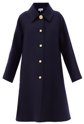 Loewe Buttoned Wool-blend Single-breasted Coat - Navy