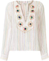 Manoush embroidered striped shirt