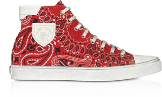 Saint Laurent Red Bandana Printed Canvas High Top Men's Sneakers