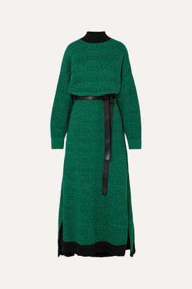 Stella McCartney Striped Wool Midi Dress - Green