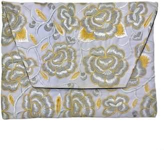 Slate & Salt Embroidered Flower Clutch