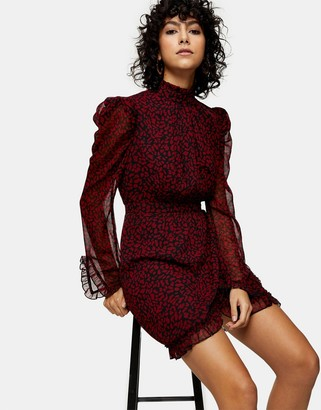 Topshop high-neck mini dress in red animal print