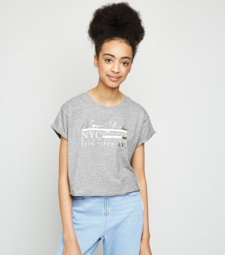 New Look Girls NYC Metallic Slogan T-Shirt