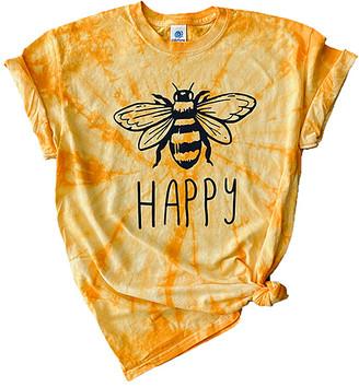 Party On! Women's Tee Shirts Gold - Gold Spiral Bee 'Happy' Tie-Dye Crewneck Tee - Women