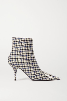 Balenciaga Knife Logo-embellished Checked Tweed Ankle Boots - Navy
