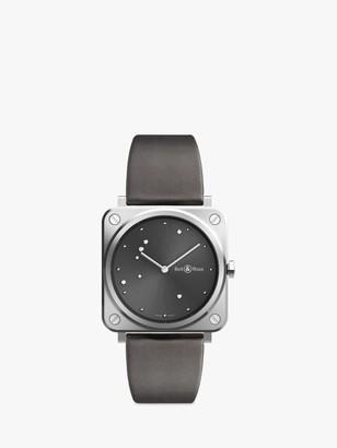 Bell & Ross BRS-ERU-ST/SCA Women's BRS Diamond Leather Strap Watch, Grey