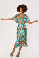 Thumbnail for your product : Nasty Gal Womens Floral Print Angel Sleeve Midi Dress - Green - 4