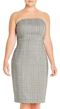 Maree Pour Toi Plus Strapless Glen Plaid Dress
