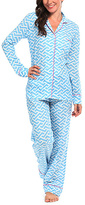Malabar Bay Blue Geometric Molly Organic Cotton Pajama Set