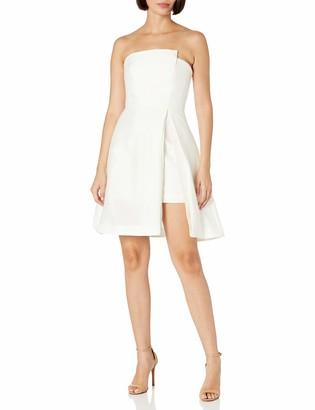 Halston Women's Strapless Jacquard Dress W Patent Lthr Belt