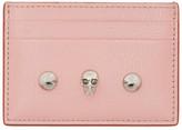 Alexander McQueen Pink Skull Stud Card Holder