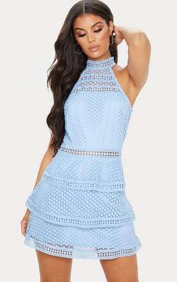 PrettyLittleThing Raine Dusty Blue Lace Panel Tiered Bodycon Dress