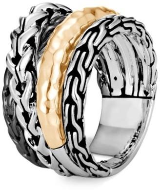John Hardy Classic Chain 18K Bonded Yellow Gold & Silver Ring