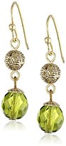 1928 Jewelry Olive and Brass Globe Earrings