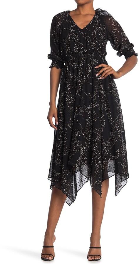 Gabby Skye Mini Clip Dot Chiffon Midi Dress