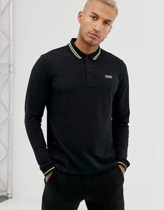 HUGO Dono long sleeve tipped polo in black
