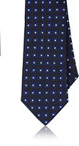 Barneys New York Men's Neat-Squares Silk Jacquard Necktie-NAVY