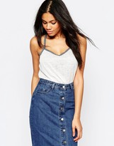 Brave Soul Linen Look Tank With Embroidered Tape Detail