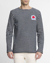 MAISON KITSUNÉ White and Blue Striped Scraped Cotton Logo Sweatshirt
