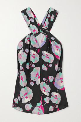 Isabel Marant Stephenea Twisted Floral-print Silk-chiffon Top