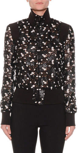Giambattista Valli High-Neck Button-Front Floral Lace-Cut Bomber Jacket