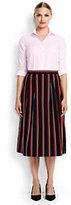 Lands' End Women's Woven Midi Skirt-Lush Tropic Green Stripe
