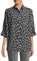Givenchy Short-Sleeve Button-Down Lightning-Bolt Silk Blouse