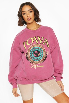 boohoo Iowa Washed Oversized Sweatshirt