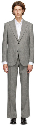 Husbands Black and White Wool Checkered Suit