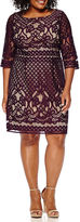 Danny & Nicole 3/4-Sleeve Lace Fit-and-Flare Dress - Plus