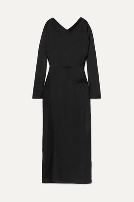 Deitas Demeter Knotted Silk-twill Maxi Dress - Black