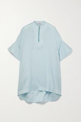 Lanvin Oversized Pinstriped Silk-blend Lurex Blouse - Light blue