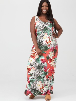 V By Very Curve Side Split Jersey Maxi Dress - Coral Floral Animal