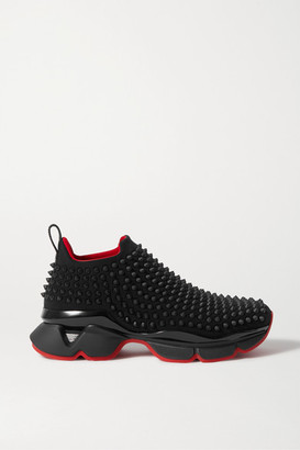 Christian Louboutin Spike Sock Donna Studded Neoprene Sneakers - Black
