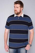 Yours Clothing BadRhino Blue & Navy Striped Short Sleeve Polo Shirt