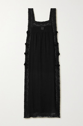 Loretta Caponi Fiocchini Lace-trimmed Silk-georgette Nightdress - Black